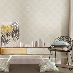 貼ってはがせるシール壁紙 Nu Wallpaper  Taupe Quatrefoil Peel And Stick Wallpaper / NU1425