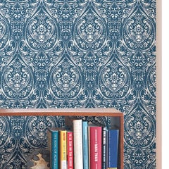 貼ってはがせるシール壁紙 Nu Wallpaper Bohemian Damask Indigo Peel and Stick Wallpaper / NU1689