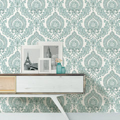 貼ってはがせるシール壁紙 Nu Wallpaper  Kensington Damask Blue Peel and Stick Wallpaper / NU1702