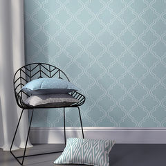 貼ってはがせるシール壁紙 Nu Wallpaper  Slate Blue Quatrefoil Peel And Stick Wallpaper / NU1826