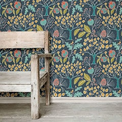 貼ってはがせるシール壁紙 Nu Wallpaper Groovy Garden Navy Peel & Stick Wallpaper / NU3038