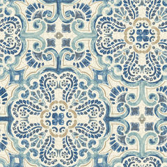 【サンプル専用】貼ってはがせるシール壁紙 Nu Wallpaper Blue Florentine Tile Peel and Stick Wallpaper / NU2235 (NUS2235)