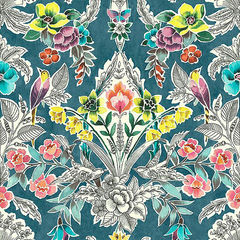 【サンプル専用】貼ってはがせるシール壁紙 Nu Wallpaper  Summer Love Teal Peel & Stick Wallpaper / NU3037