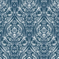【サンプル専用】貼ってはがせるシール壁紙 Nu Wallpaper Bohemian Damask Indigo Peel and Stick Wallpaper / NU1689