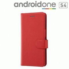 DIGNO J 704KC Android One S4 共通 手帳 シンプル マグネット レッド 4562357027001 [▲][G]