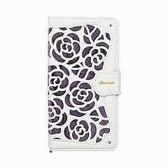 iPhone XS iPhone X 共通 手帳型ケース La Roseraie Purple 4562378221457 [▲][G]