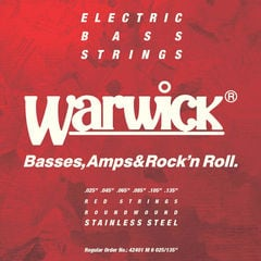 WARWICK 42401 RED stainless steel 6-string Set M 025-135 ベース弦