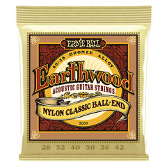 ERNIE BALL 2069 Earthwood Folk Nylon, Clear & Gold Ball End, 80/20 Bronze 28-42 Gauge クラシックギター弦