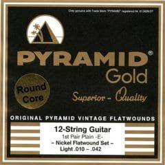 PYRAMID STRINGS EG Gold 12 strings 010-042 chrome nickel flatwounds on round core フラットワウンド 12弦用エレキギター弦×3セット