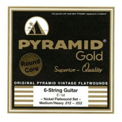 PYRAMID STRINGS EG Gold 012-052 chrome nickel flatwounds on round core フラットワウンド エレキギター弦×3セット
